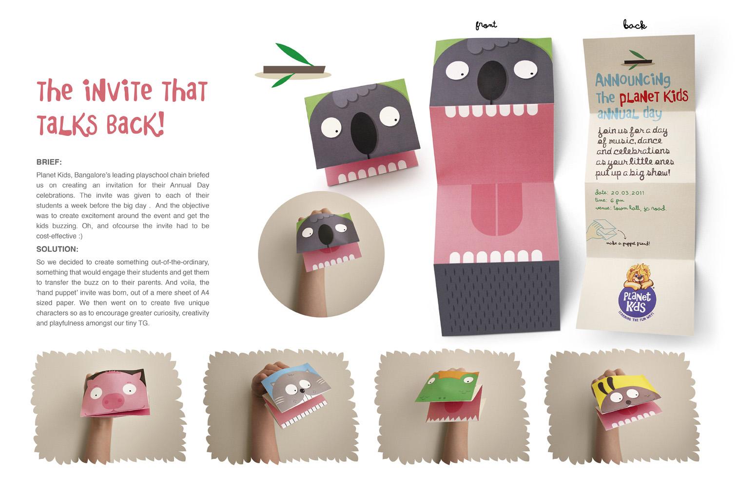 Paper puppet invites