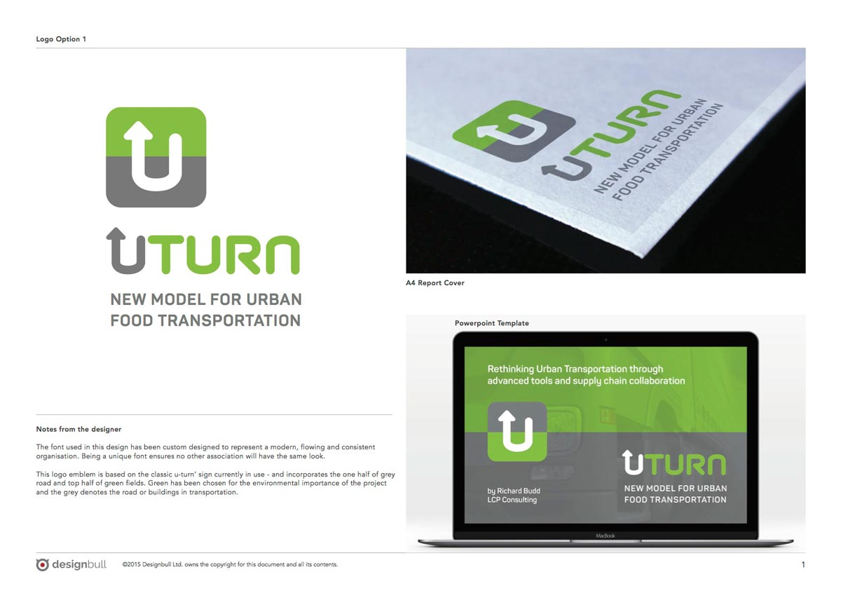U-Turn Logo options – with mock-ups for a report cover and presentation