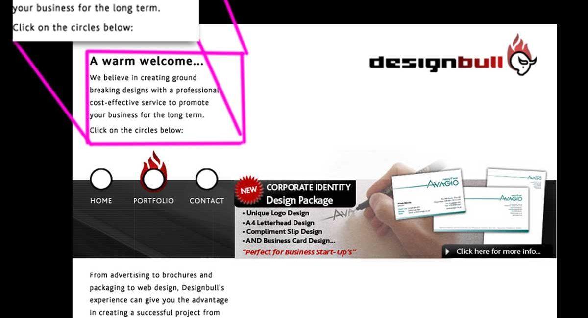An old web design for designbull which used images for text